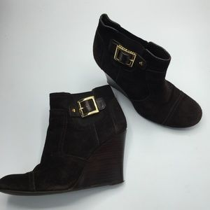 Tory Burch Suede Wedge Ankle Boots